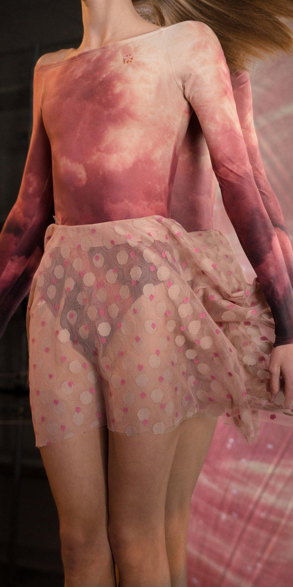 JUMBO POLKA TULLE short square skirt bush nude 2