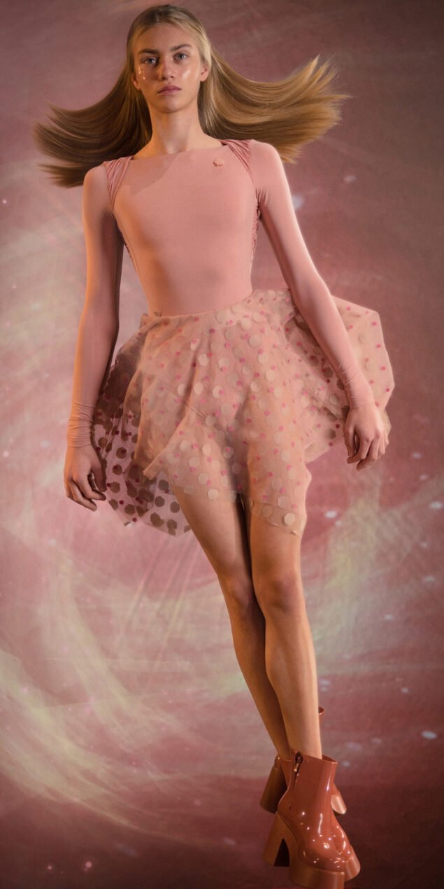 JUMBO POLKA TULLE short square skirt bush nude 4