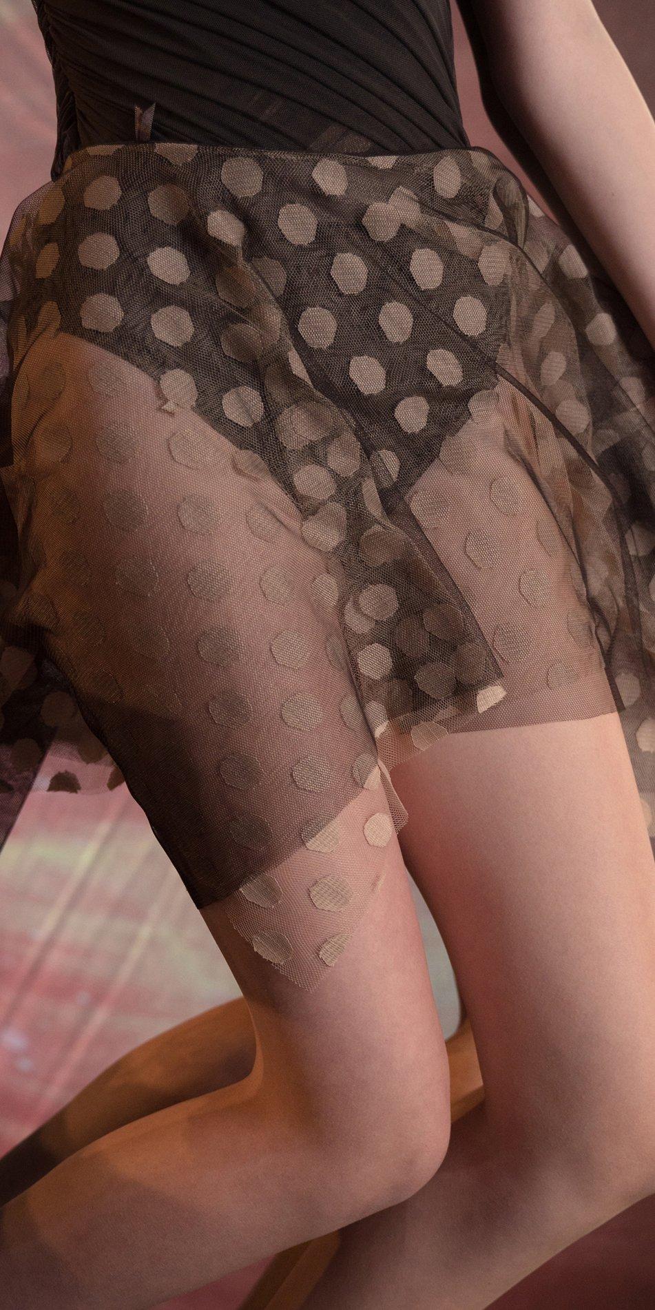 JUMBO POLKA TULLE short square skirt chocolate nude 3