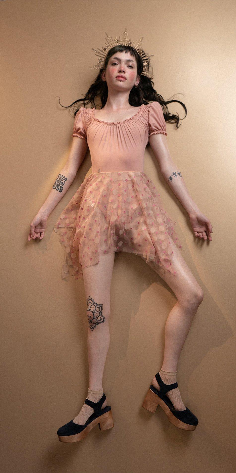 JUMBO POLKA short skirt blush nude Bloom 3