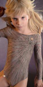 JUNIOR STELLAR bateau neckline leotard with sleeves lavender 3