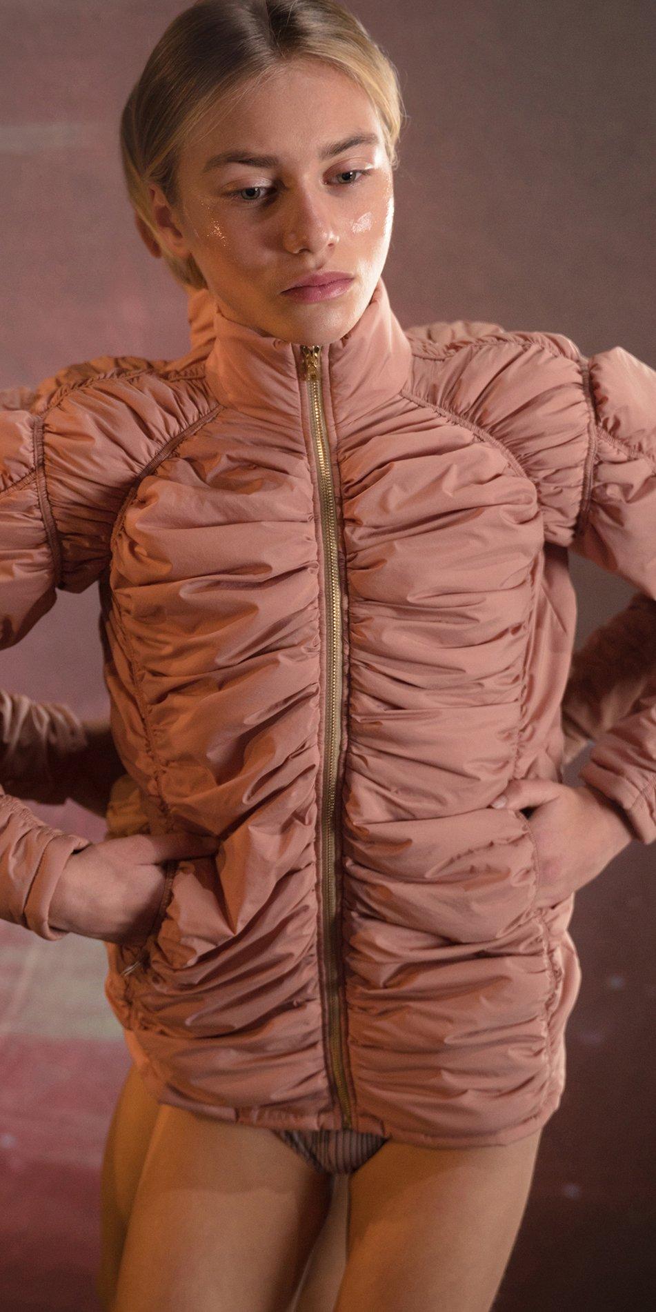 PARA CUTE blush padded draped jacket 5