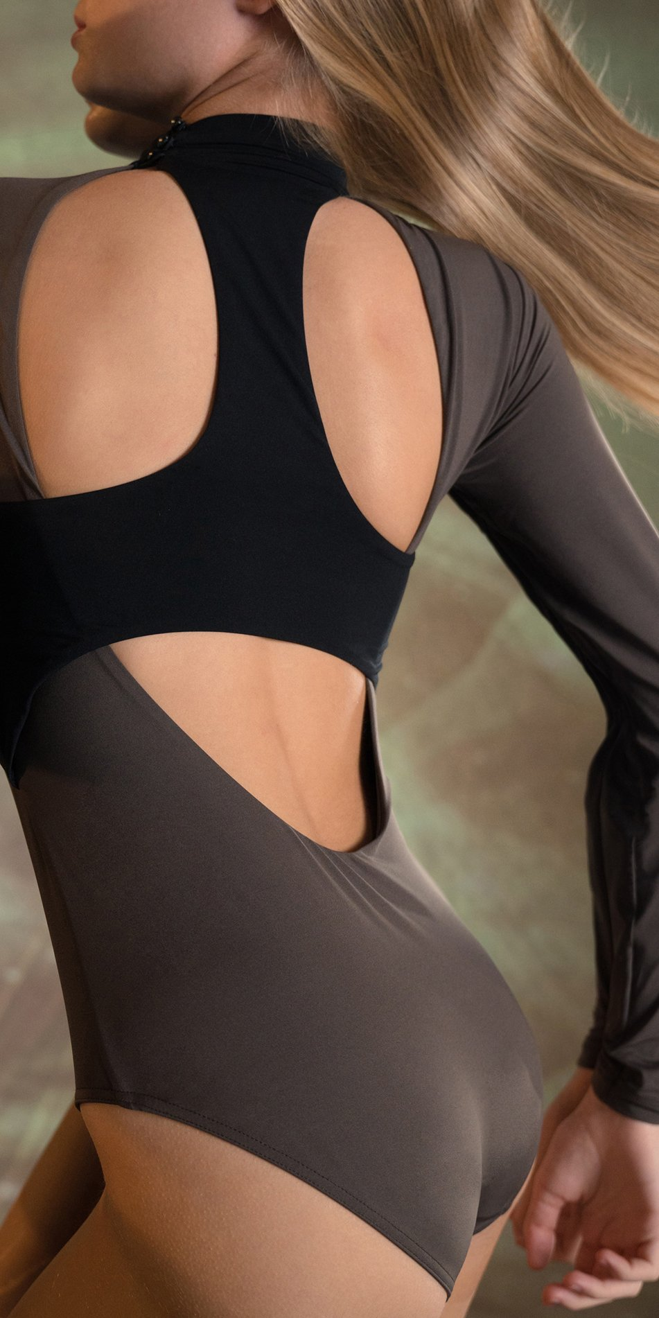 SPACE RACER a two in one racerback leotard chocolate black 2
