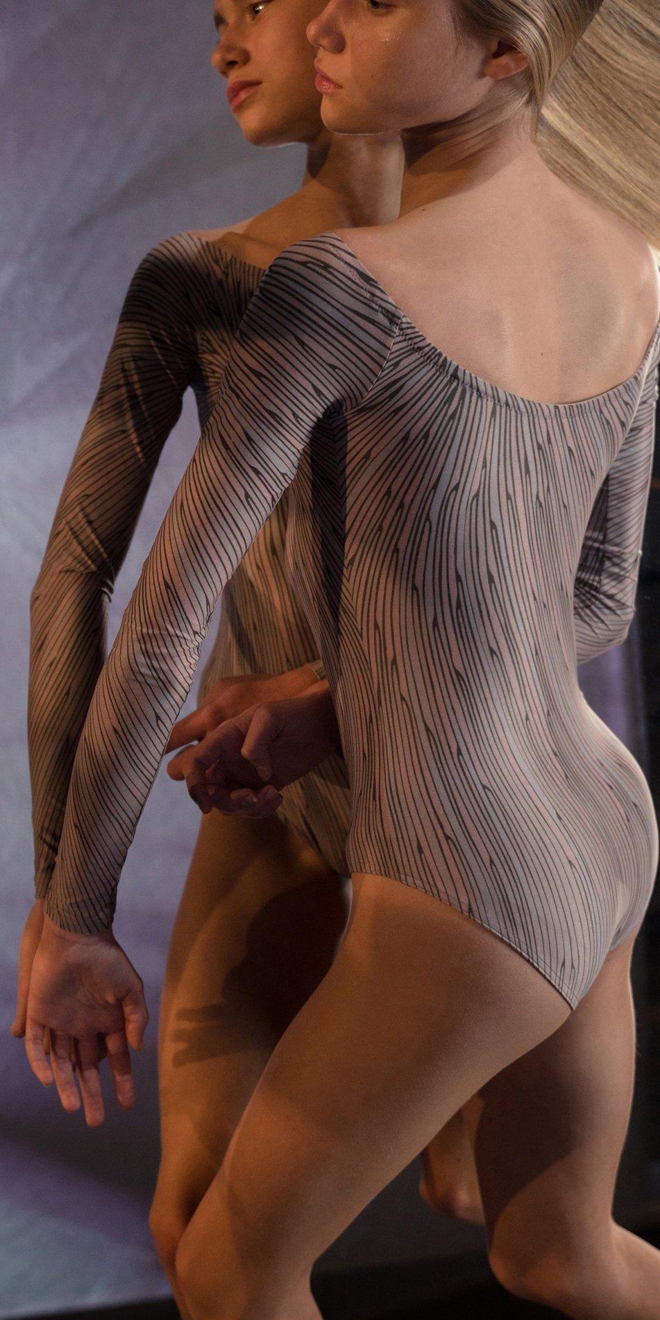 STELLAR bateau neckline leotard with sleeves lavender 2