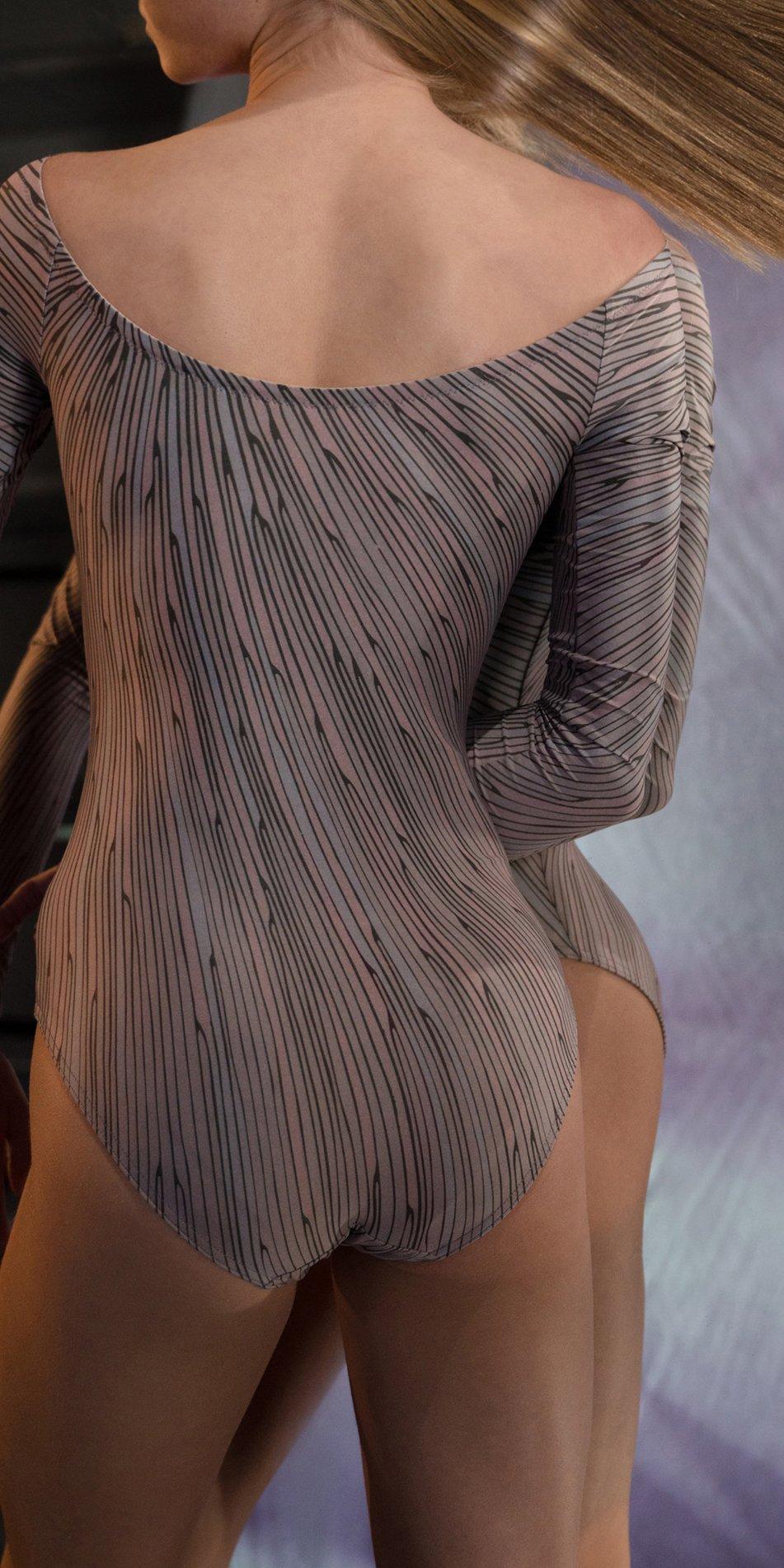 STELLAR bateau neckline leotard with sleeves lavender 3