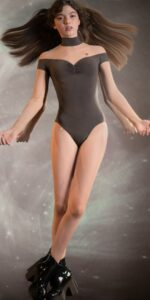 SWEETHEART chocolate off shoulder mesh decolte leotard with sleeves 1