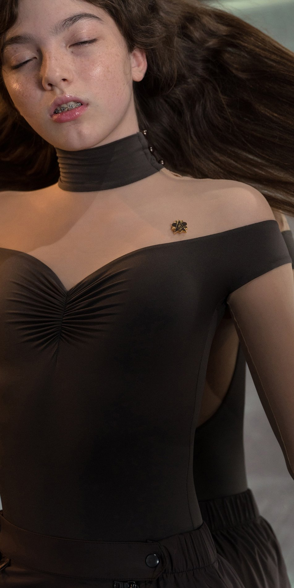 SWEETHEART chocolate off shoulder mesh decolte leotard with sleeves 6