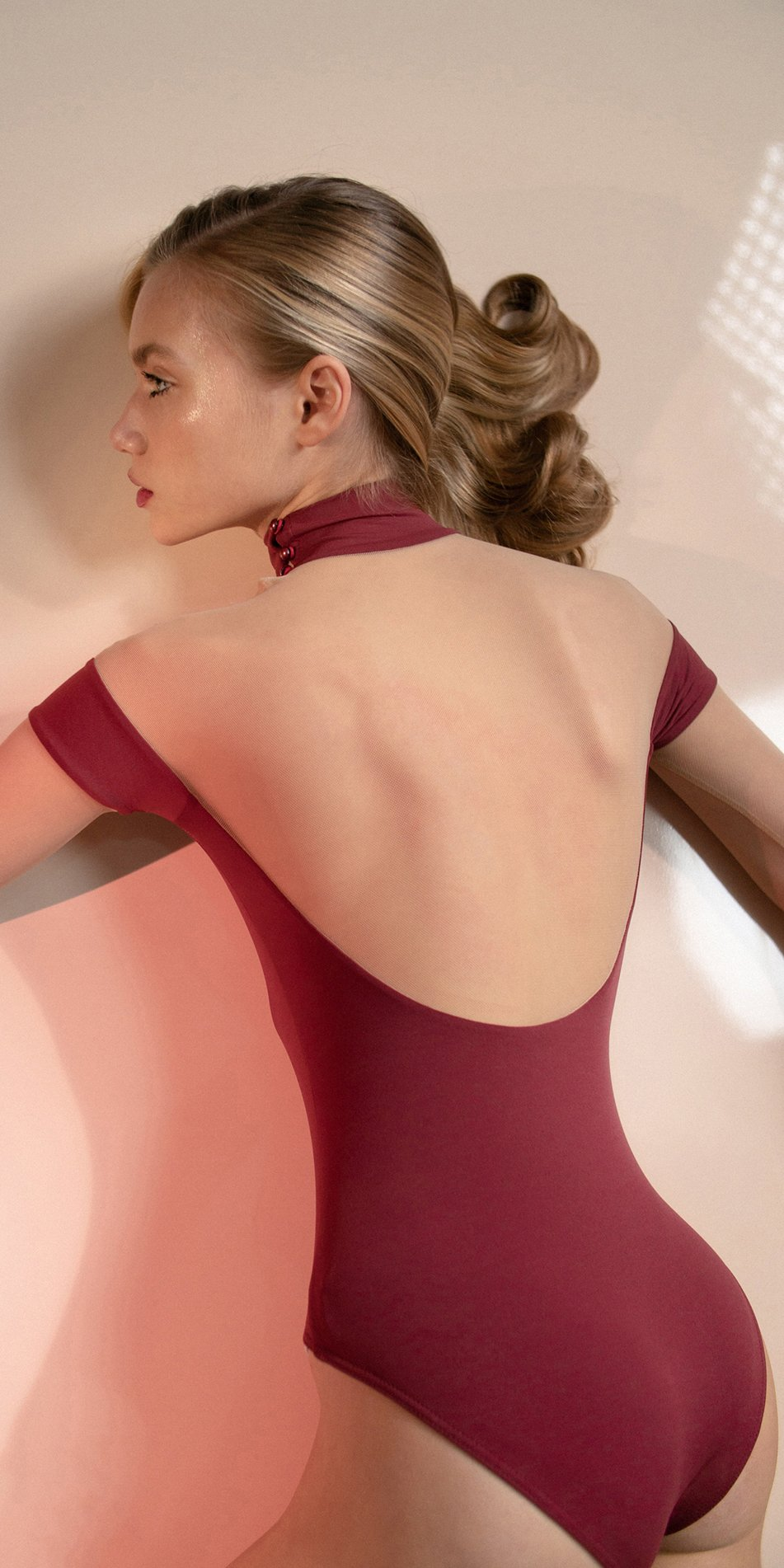 SWEETHEART – red off shoulder mesh decolette leotard with sleeves 7