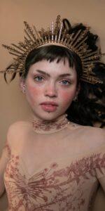 BLOOMY SWEETHEART burgundy off shoulder mesh decolette leotard with sleeves 10 1
