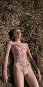 BLOOMY SWEETHEART burgundy off shoulder mesh decolette leotard with sleeves 5