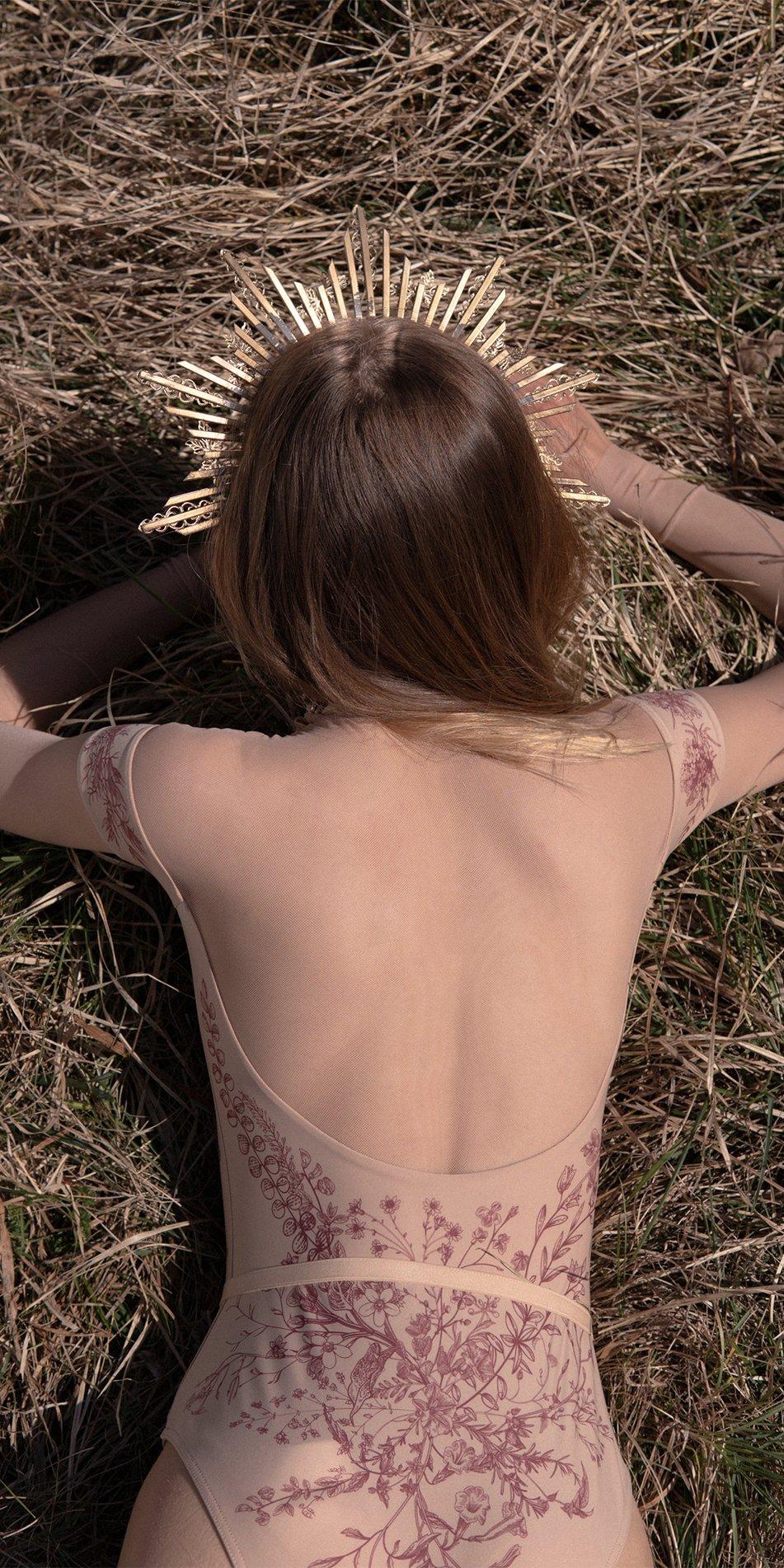 BLOOMY SWEETHEART burgundy off shoulder mesh decolette leotard with sleeves 8