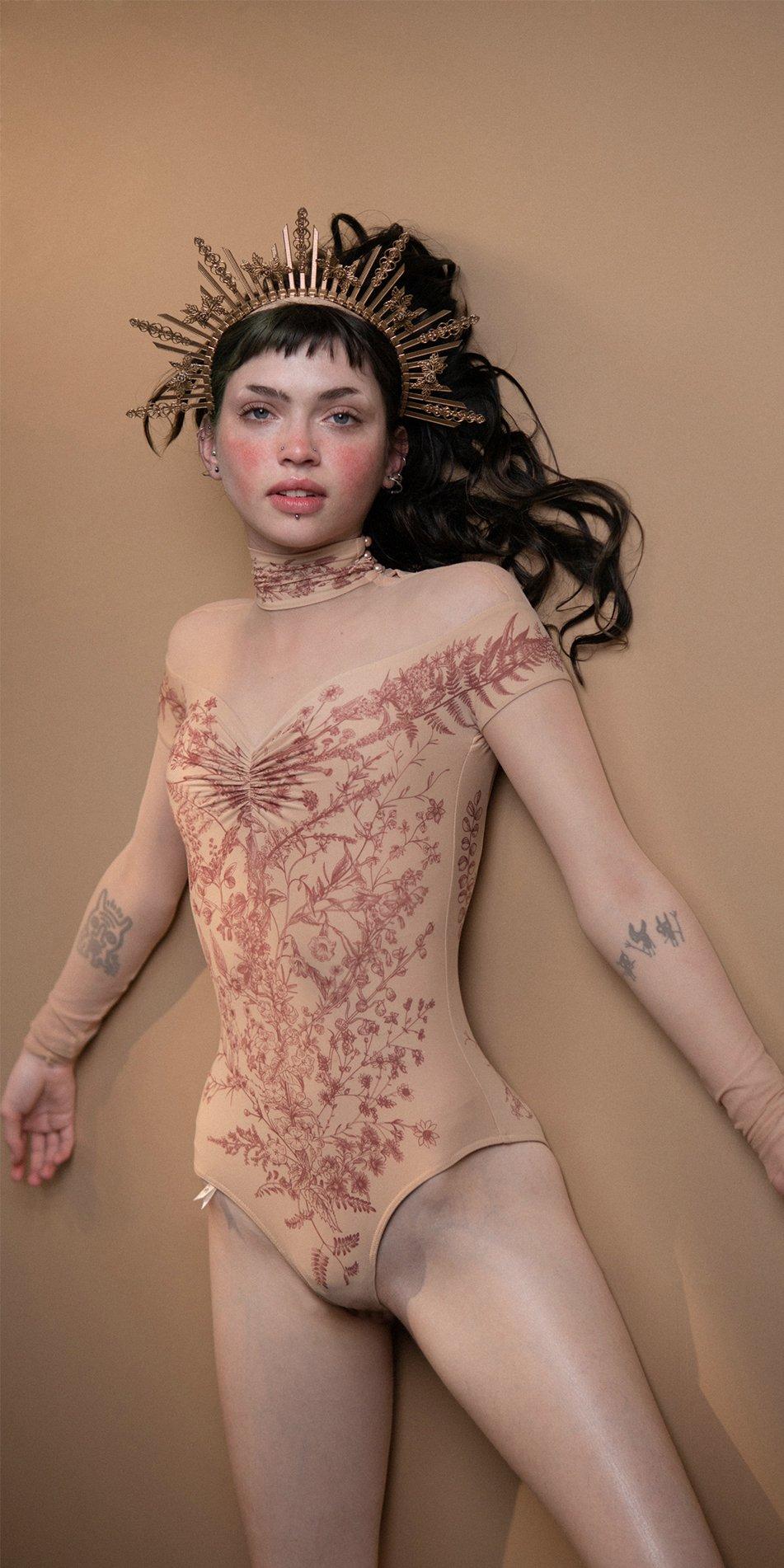 BLOOMY SWEETHEART burgundy off shoulder mesh decolette leotard with sleeves 9