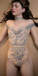 BLOOMY SWEETHEART indigo off shoulder mesh decolette leotard with sleeves 3