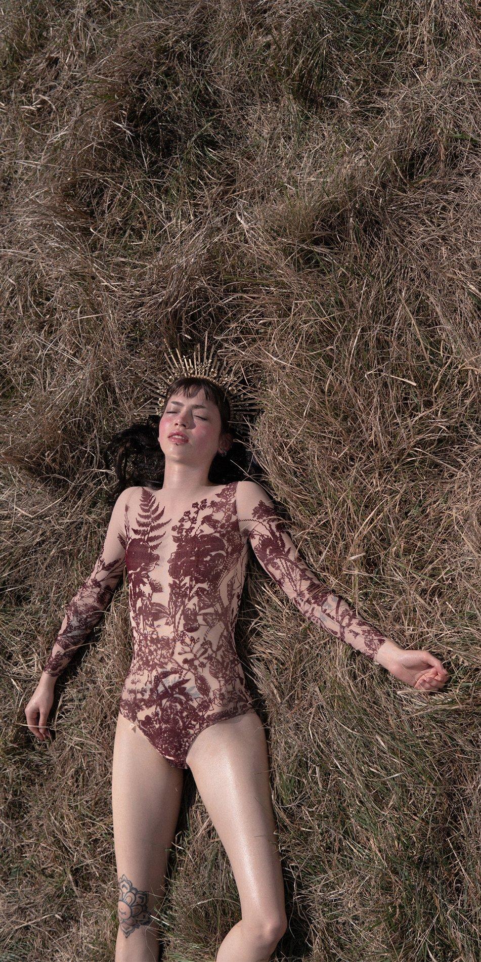 BLOSSOMS burgundy second skin flock print bodysuit 3