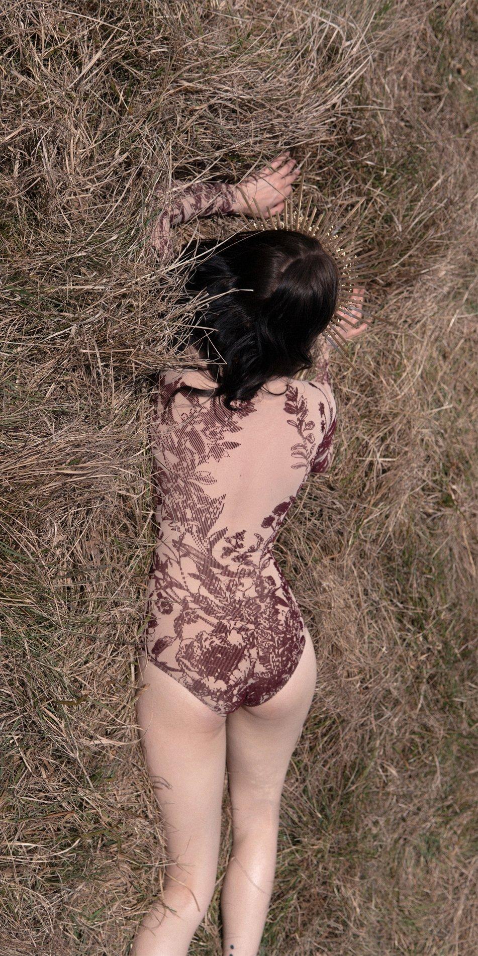 BLOSSOMS burgundy second skin flock print bodysuit 7