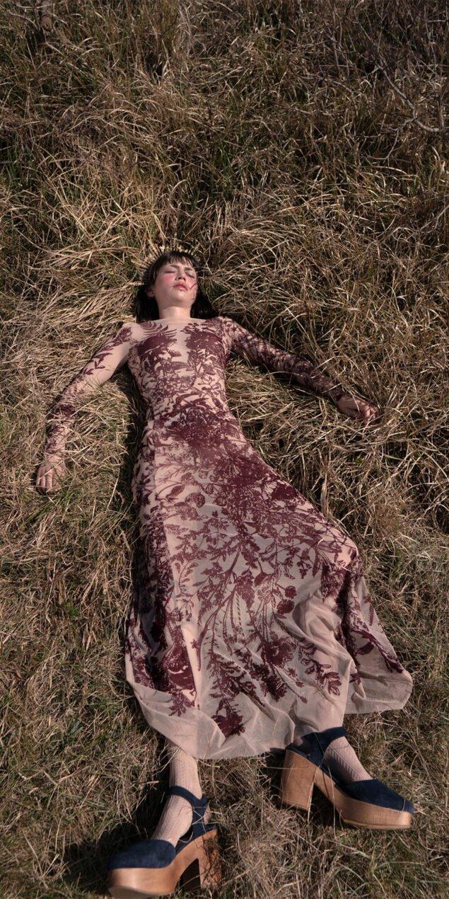 BLOSSOMS burgundy second skin flock print dress 1 1