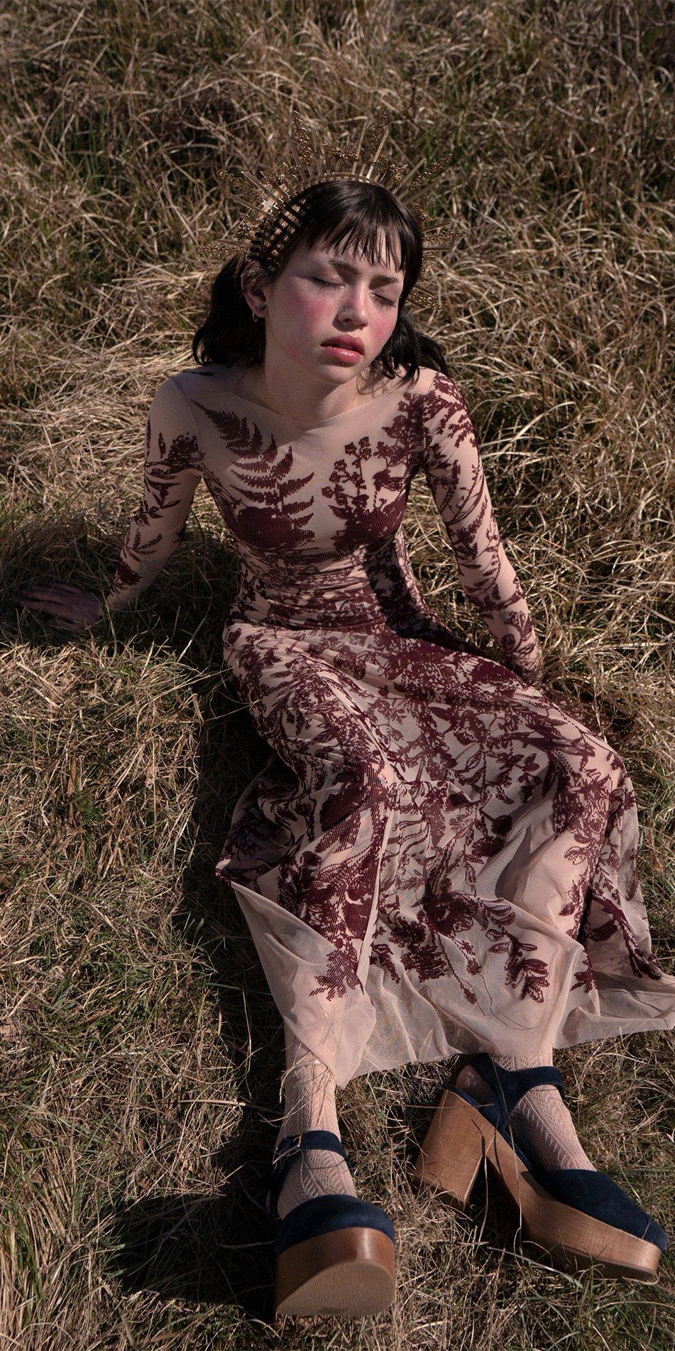 BLOSSOMS burgundy second skin flock print dress 3