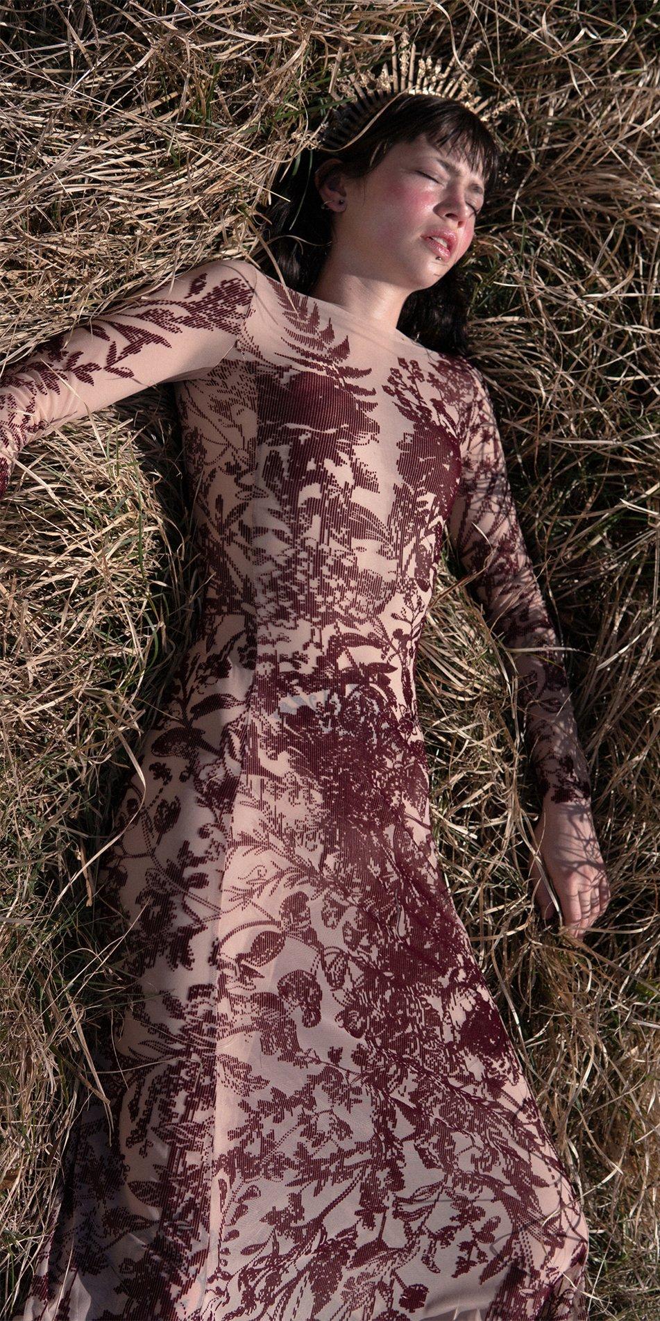 BLOSSOMS burgundy second skin flock print dress 5
