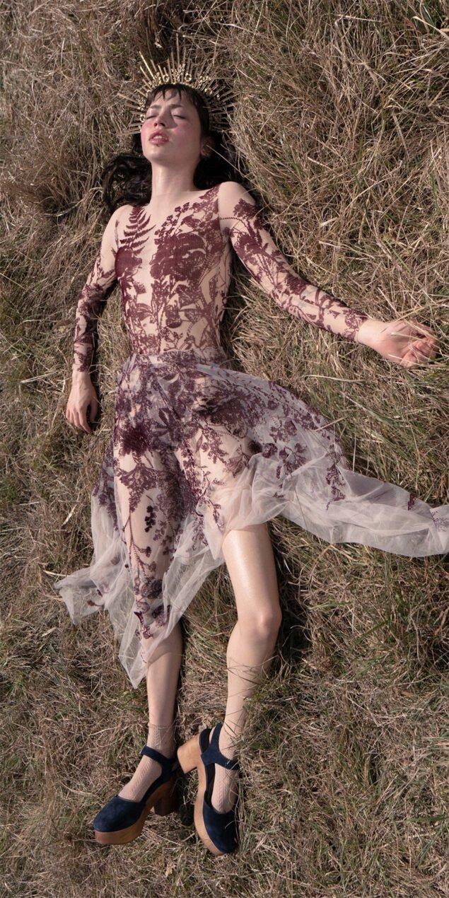 BLOSSOMS burgundy second skin flock print skirt 1