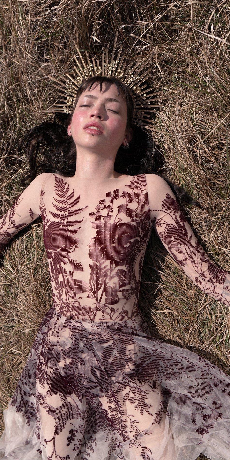 BLOSSOMS burgundy second skin flock print skirt 2