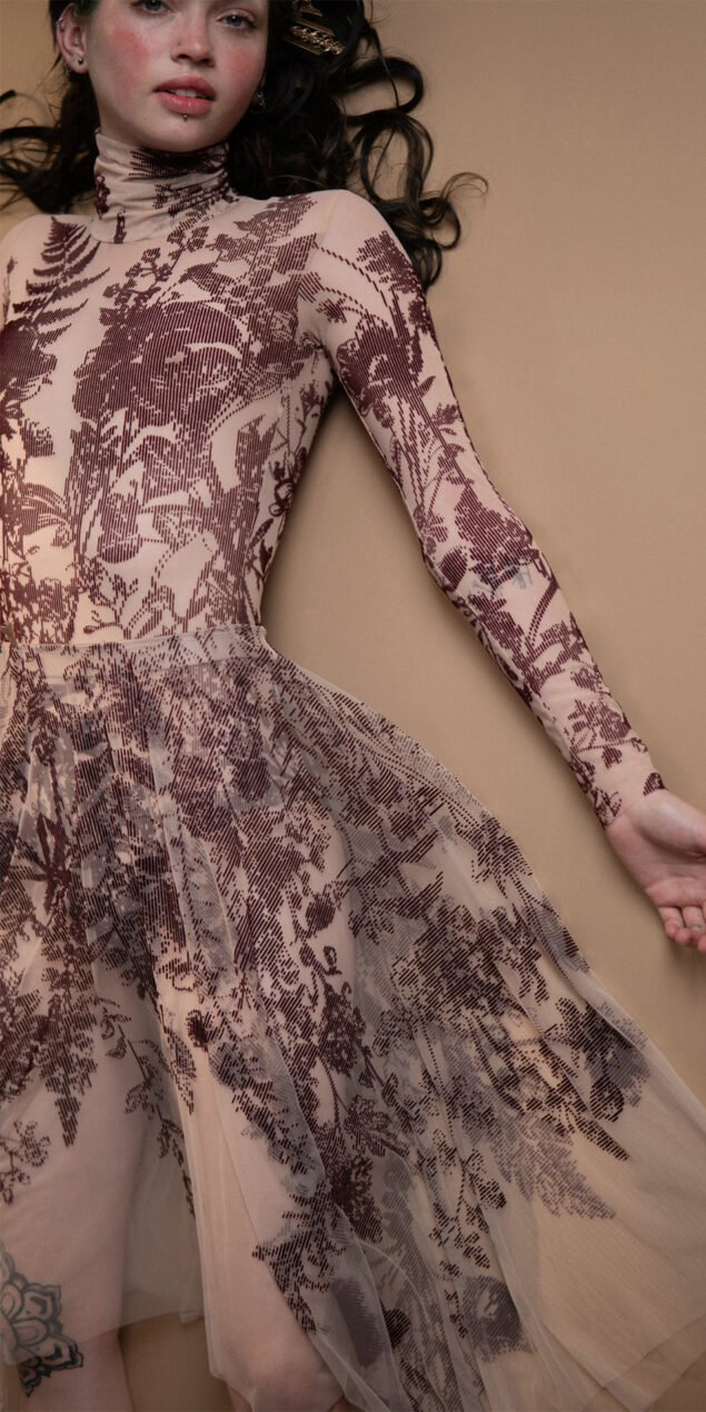 BLOSSOMS burgundy second skin flock print skirt 7
