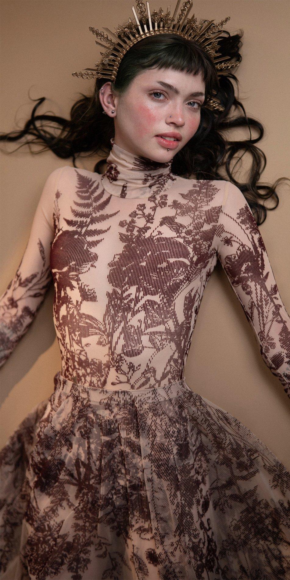 BLOSSOMS burgundy second skin flock print skirt 8