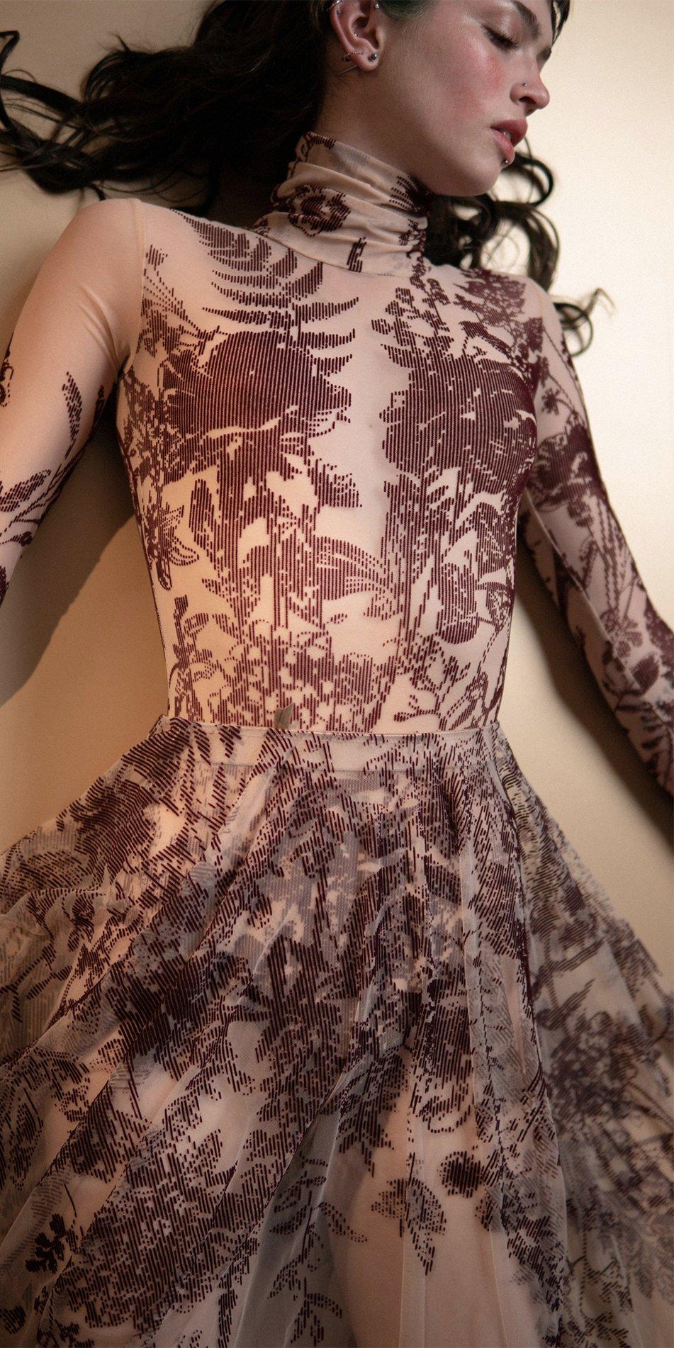 BLOSSOMS burgundy second skin flock print skirt 9