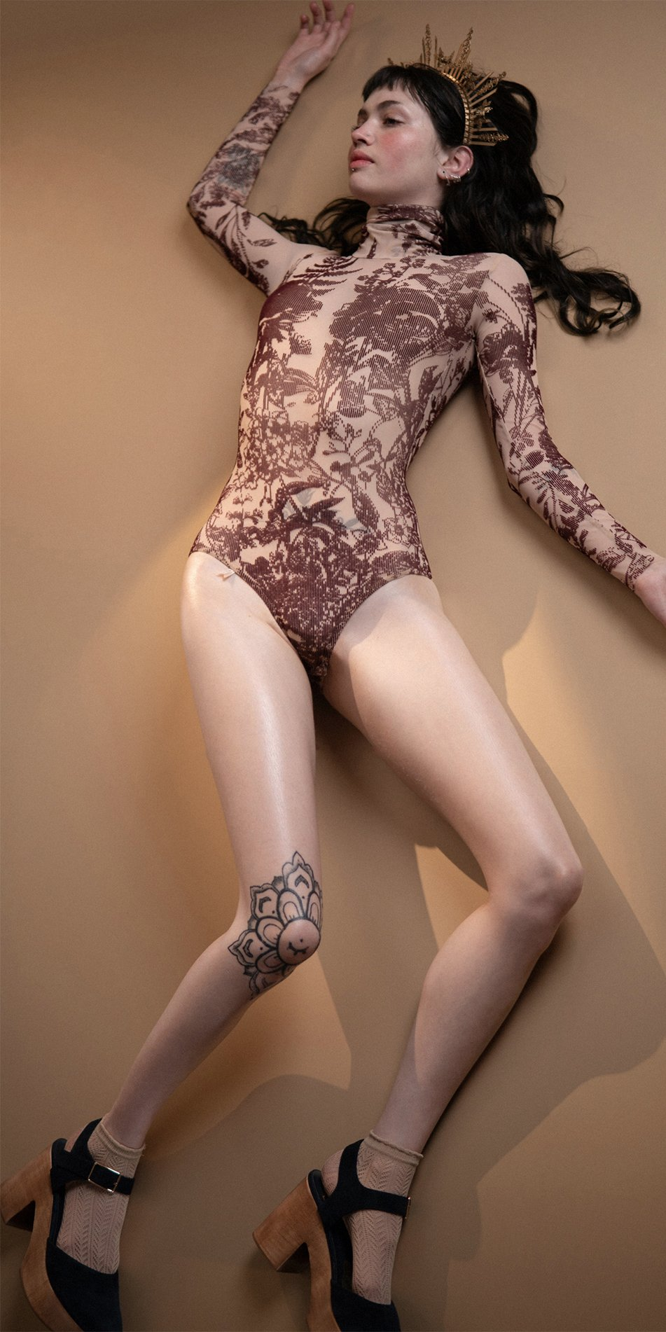 BLOSSOMS burgundy second skin flock print turtleneck bodysuit 1