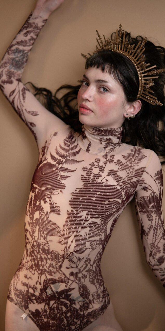 BLOSSOMS burgundy second skin flock print turtleneck bodysuit 2