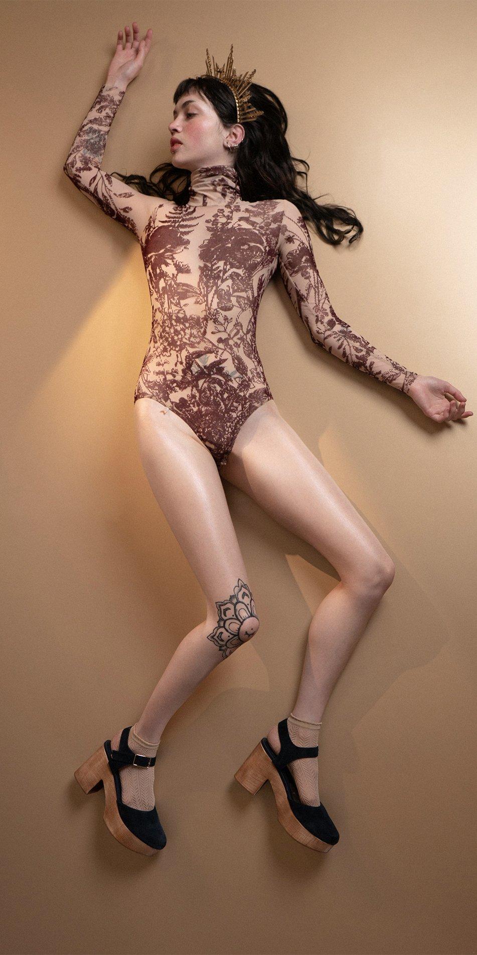BLOSSOMS burgundy second skin flock print turtleneck bodysuit 4