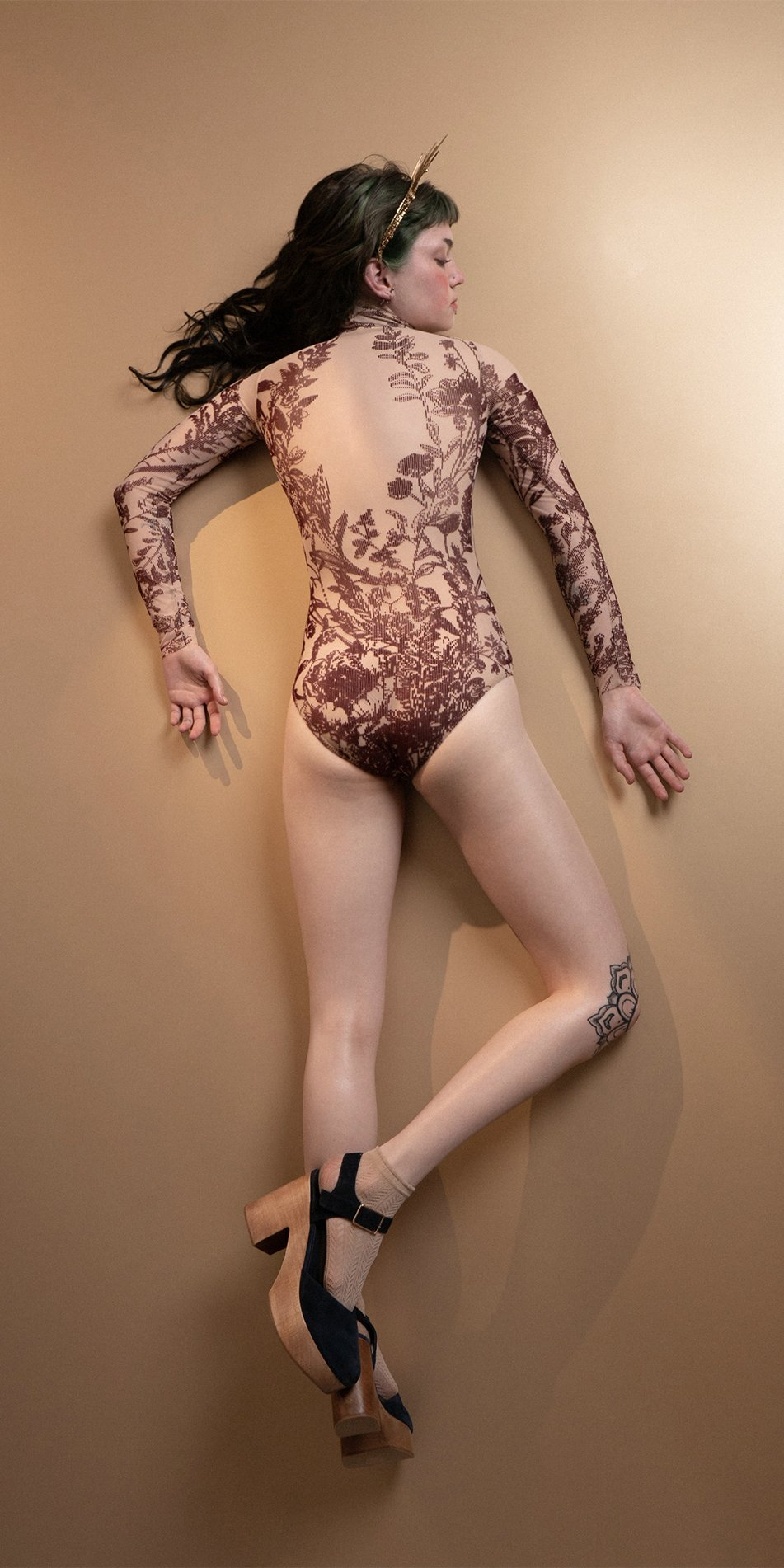 BLOSSOMS burgundy second skin flock print turtleneck bodysuit 5