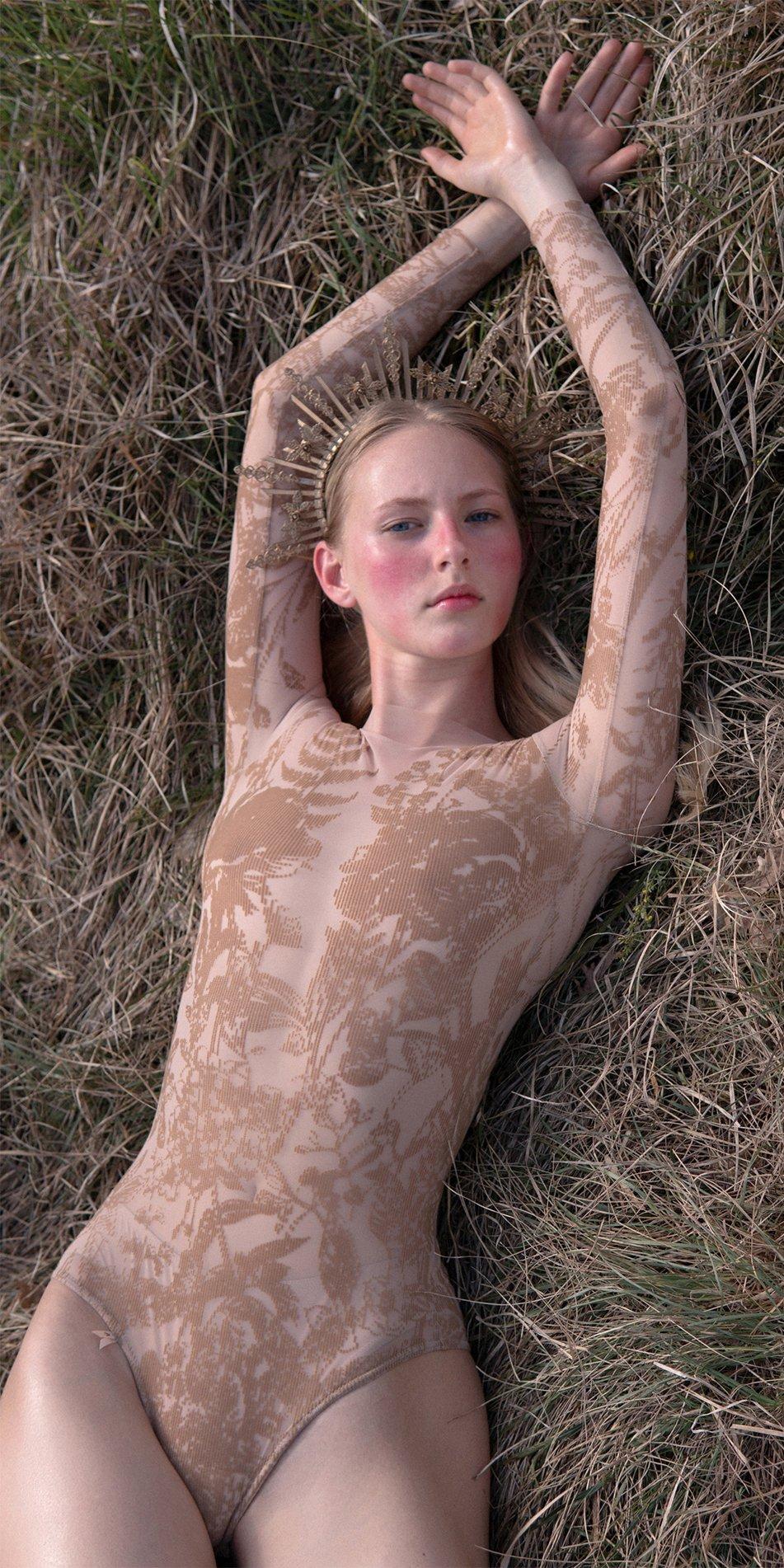 BLOSSOMS nude second skin flock print bodysuit 2