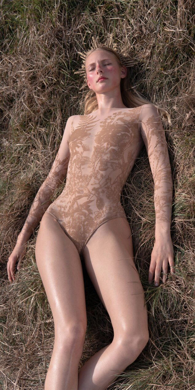 BLOSSOMS nude second skin flock print bodysuit 5