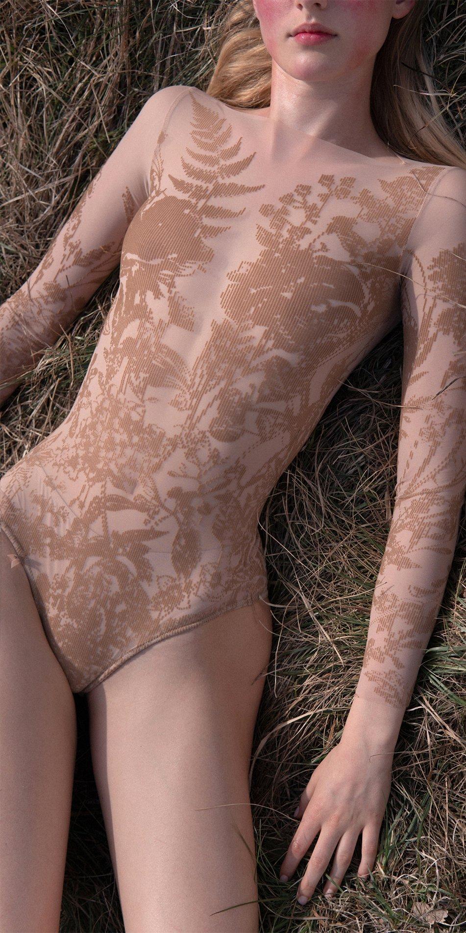 BLOSSOMS nude second skin flock print bodysuit 6