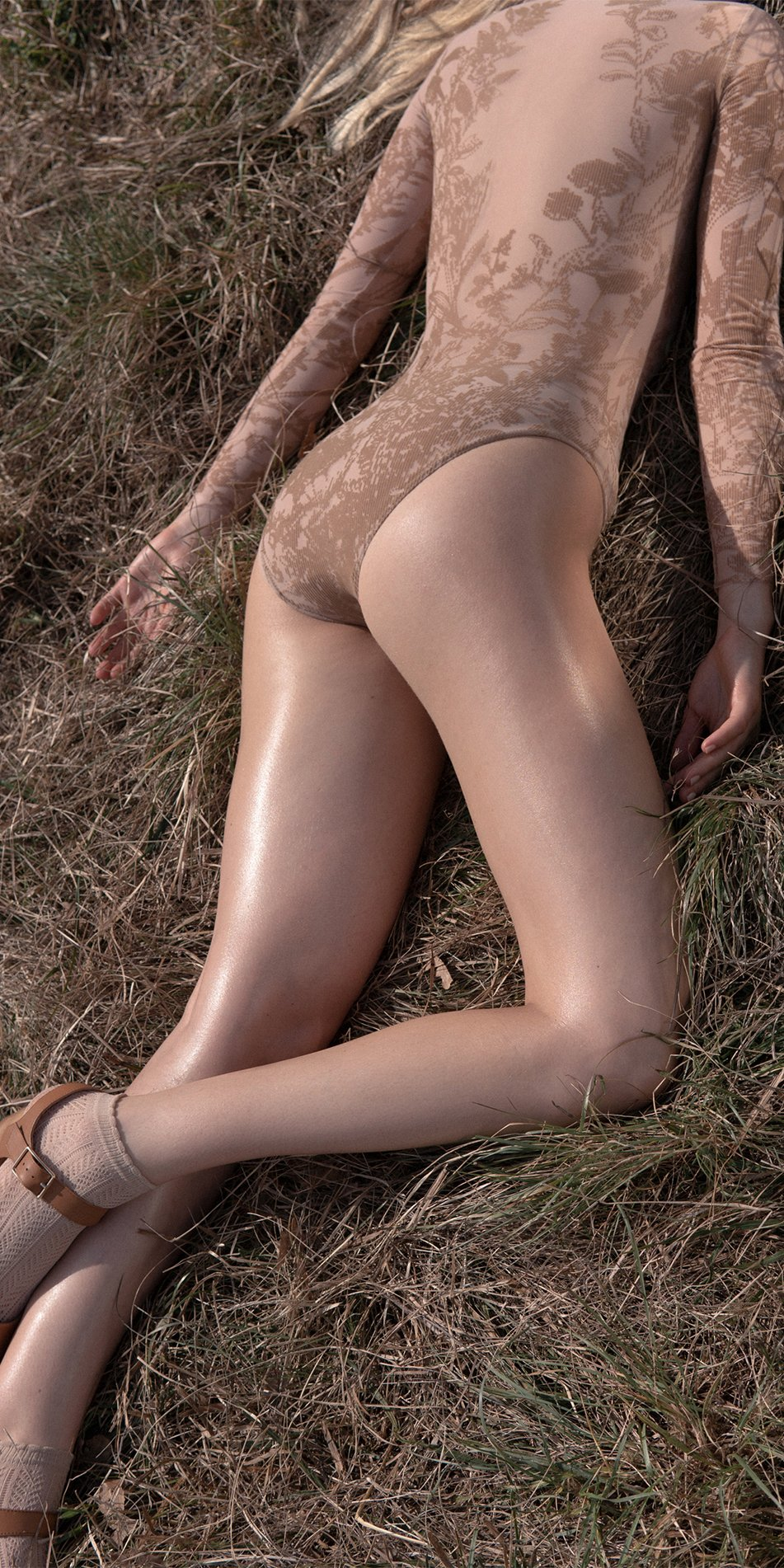 BLOSSOMS nude second skin flock print bodysuit 8