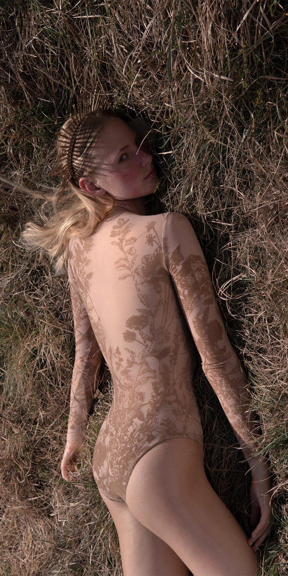 BLOSSOMS nude second skin flock print bodysuit 9