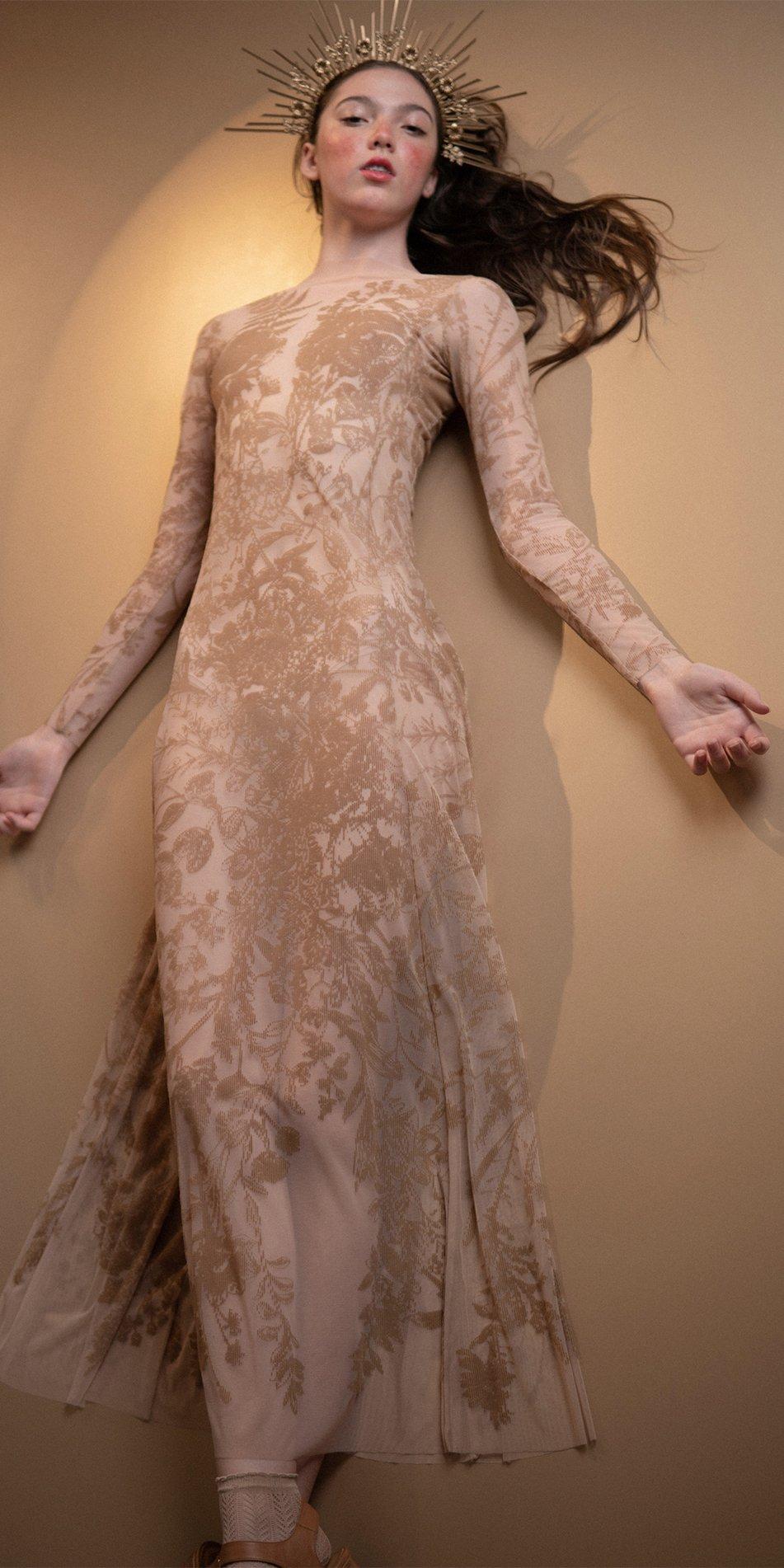 BLOSSOMS nude second skin flock print dress 1