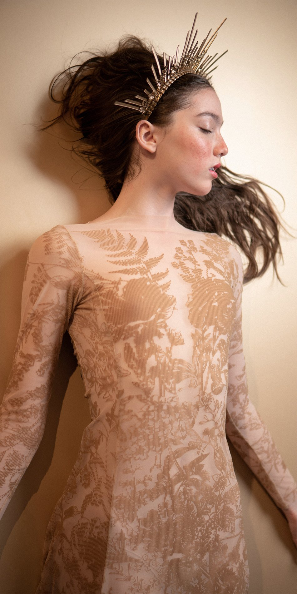 BLOSSOMS nude second skin flock print dress 10