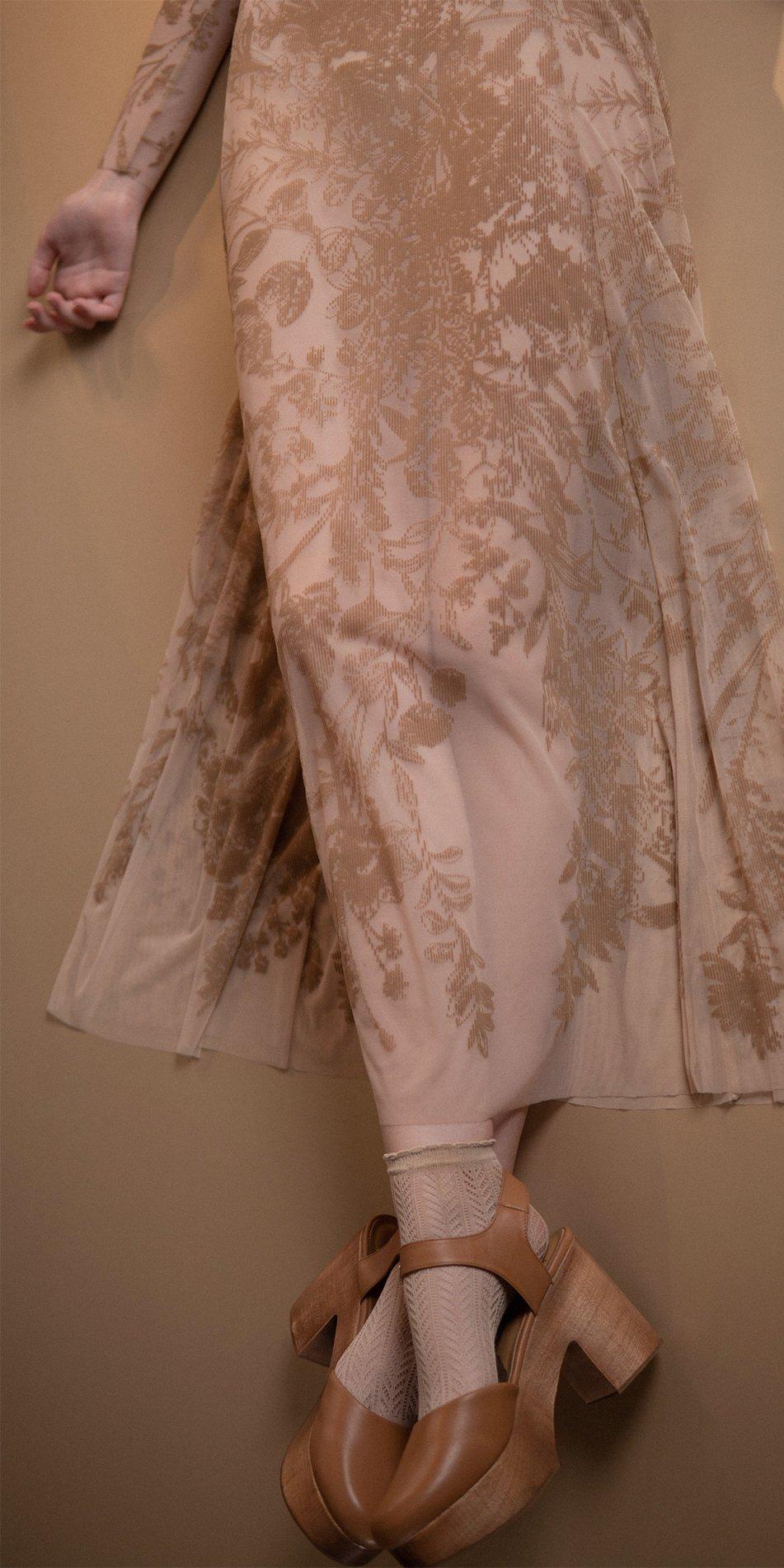BLOSSOMS nude second skin flock print dress 2
