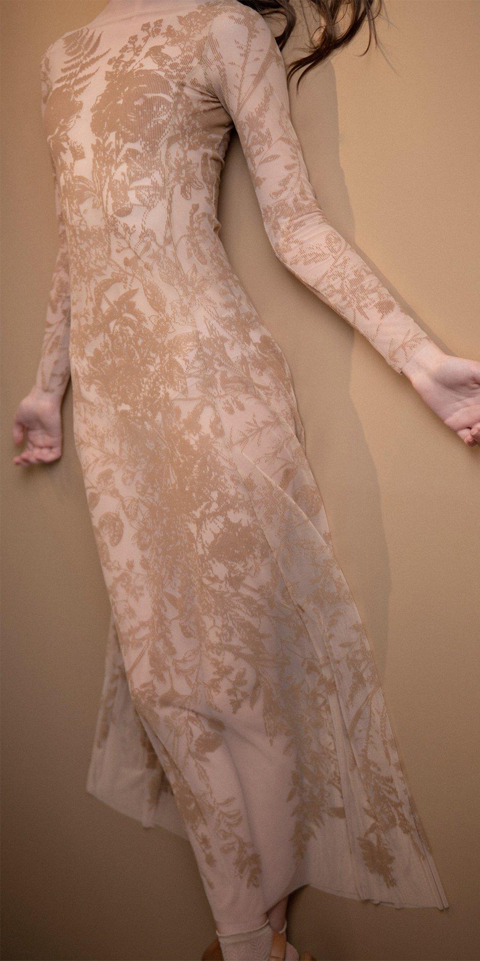 BLOSSOMS nude second skin flock print dress 3