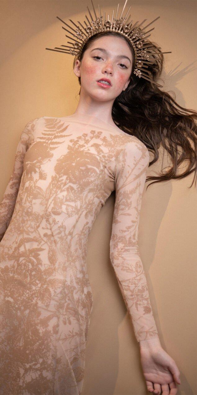 BLOSSOMS nude second skin flock print dress 4