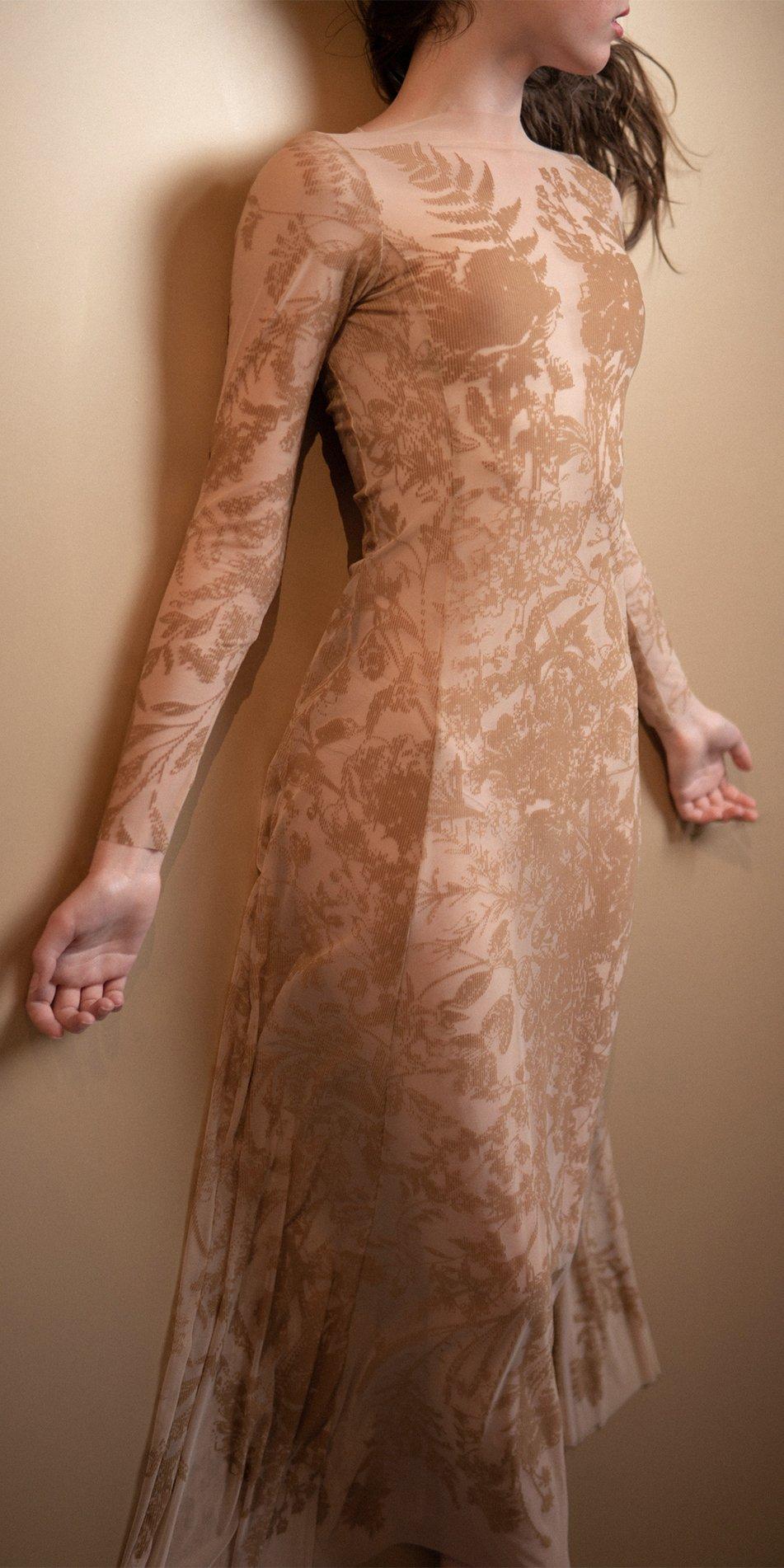 BLOSSOMS nude second skin flock print dress 5