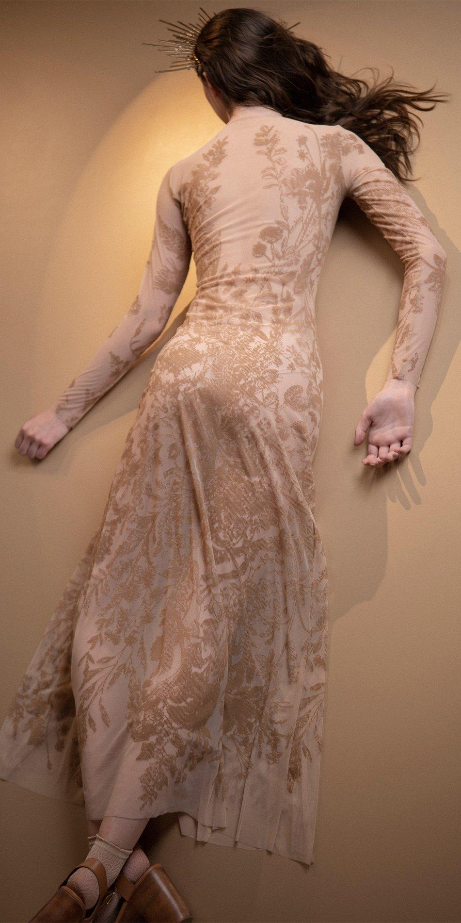 BLOSSOMS nude second skin flock print dress 7