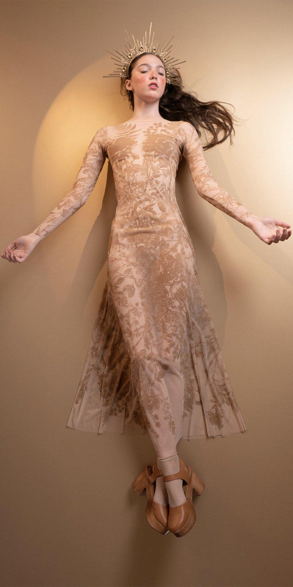 BLOSSOMS nude second skin flock print dress 8