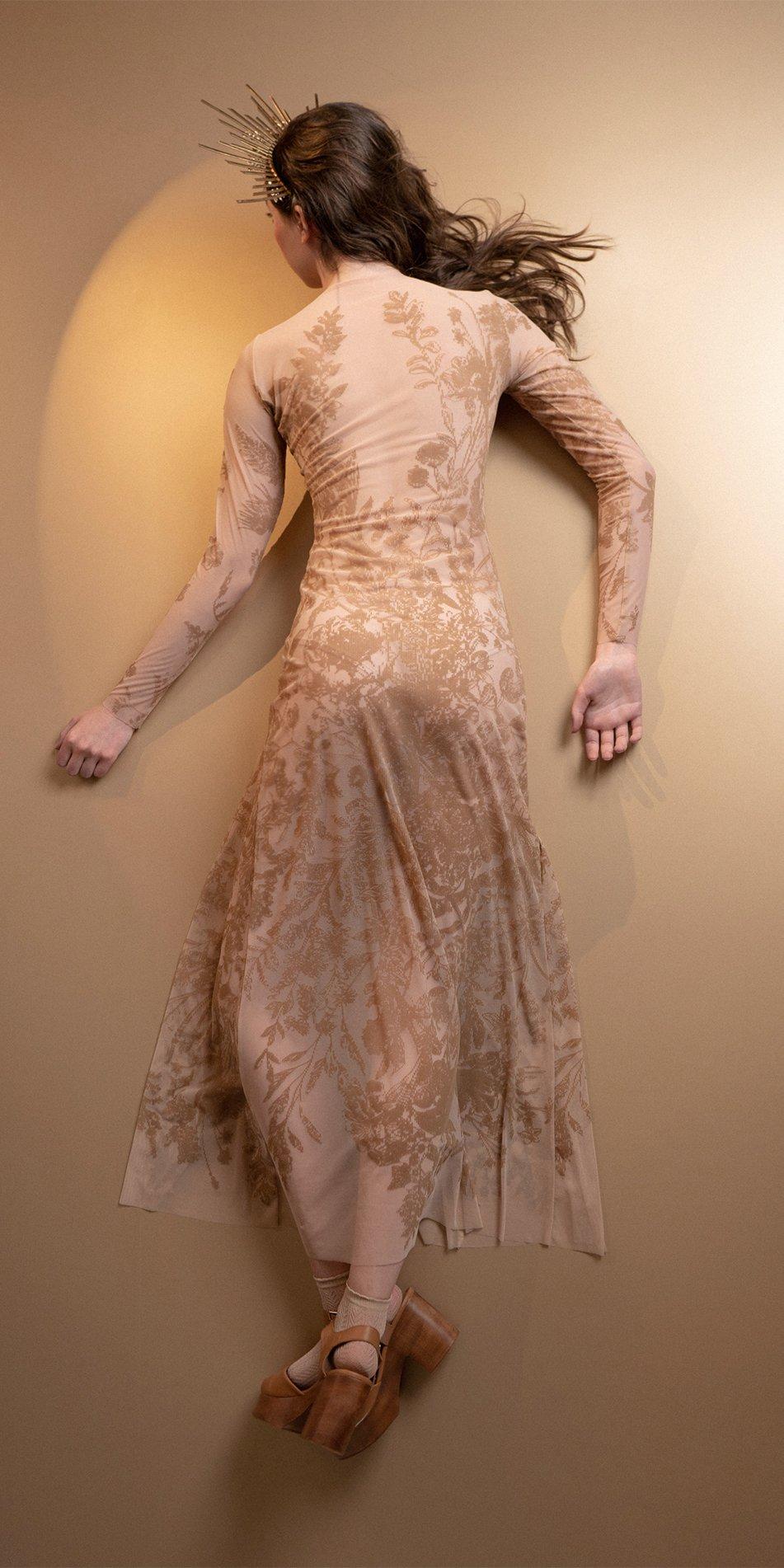 BLOSSOMS nude second skin flock print dress 9