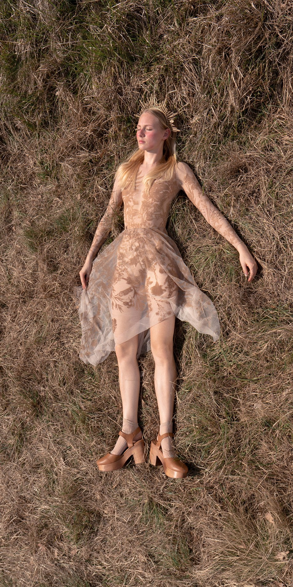 BLOSSOMS nude second skin flock print skirt 1