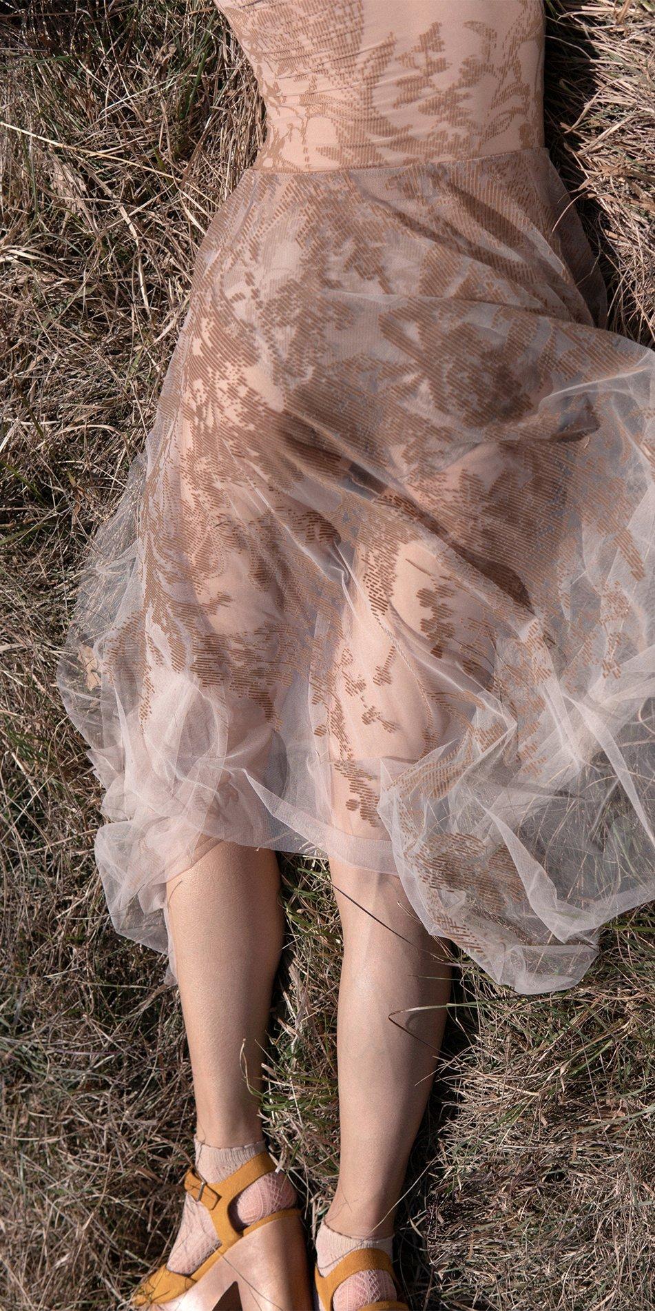 BLOSSOMS nude second skin flock print skirt 11