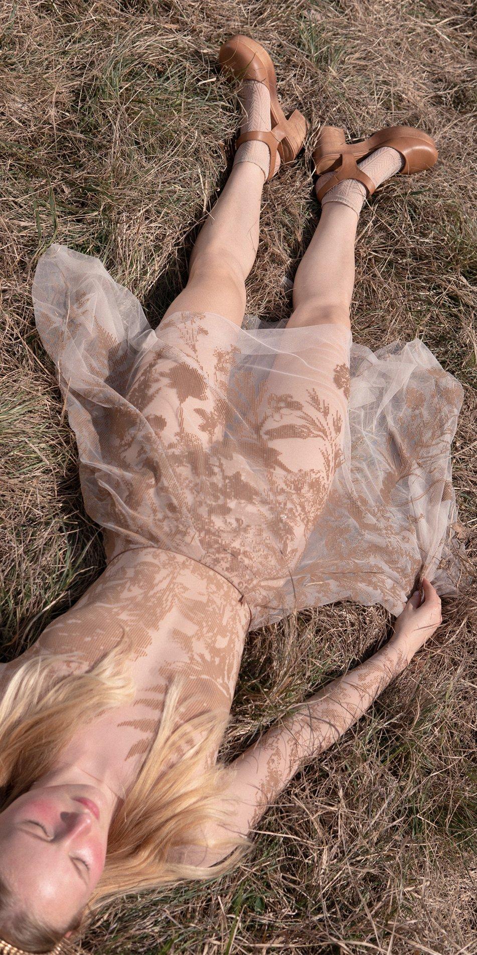 BLOSSOMS nude second skin flock print skirt 12