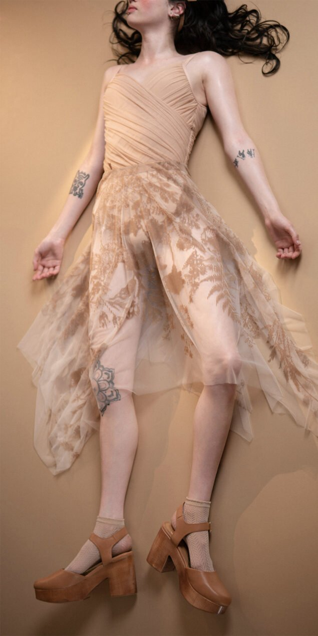 BLOSSOMS nude second skin flock print skirt 13