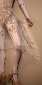 BLOSSOMS nude second skin flock print skirt 14